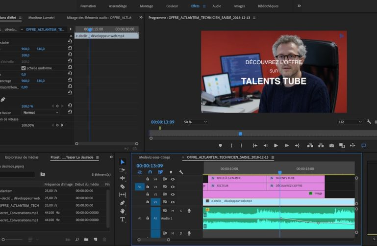 Premiere pro, logiciel de montage cv vidéo