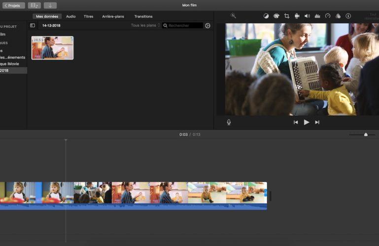 iMovie, logiciel de montage pour créer un CV vidéo.