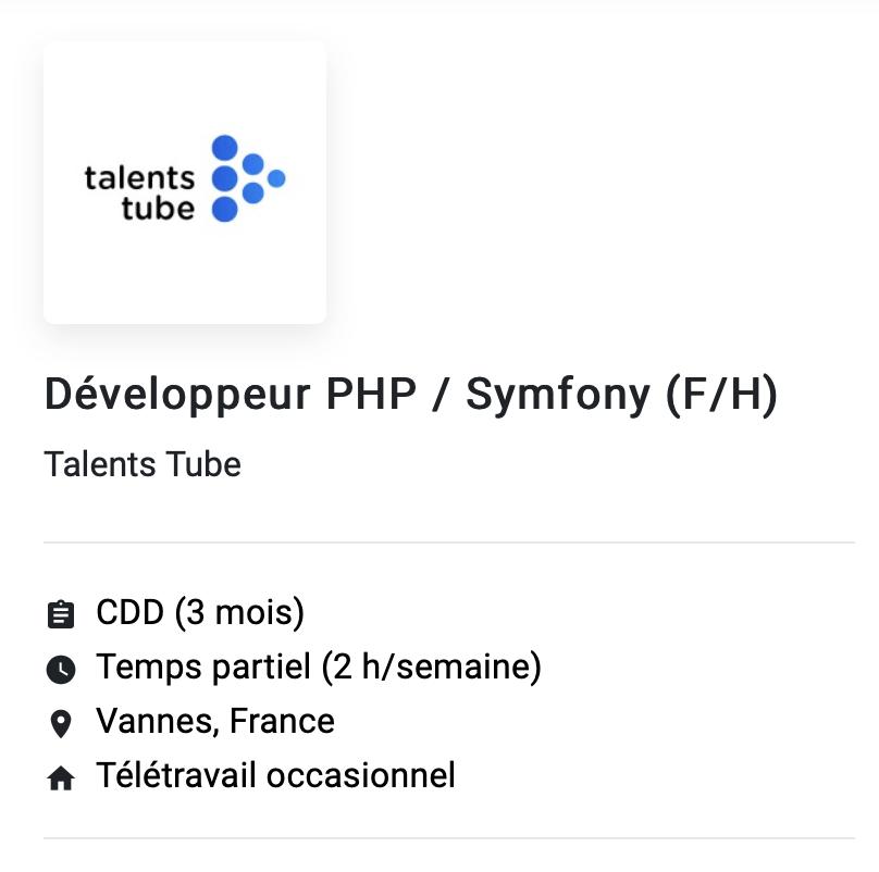 exemple offre d'emploi développeur php